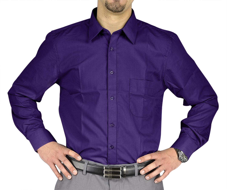 Moda Di Raza- Men's Slim Fit Casual Dress Shirts - Purple / 34/35-17.5