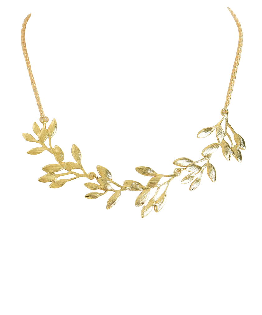 Belle Donne Necklace Long Chain Multi Chain MultiStone Leaves- Gold