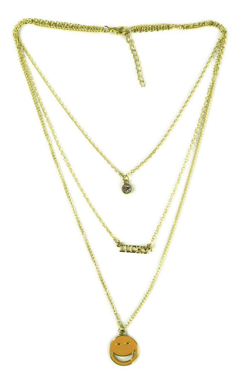 Belle Donne Necklace Long  Multi Chain and Choker  Emoji - Gold