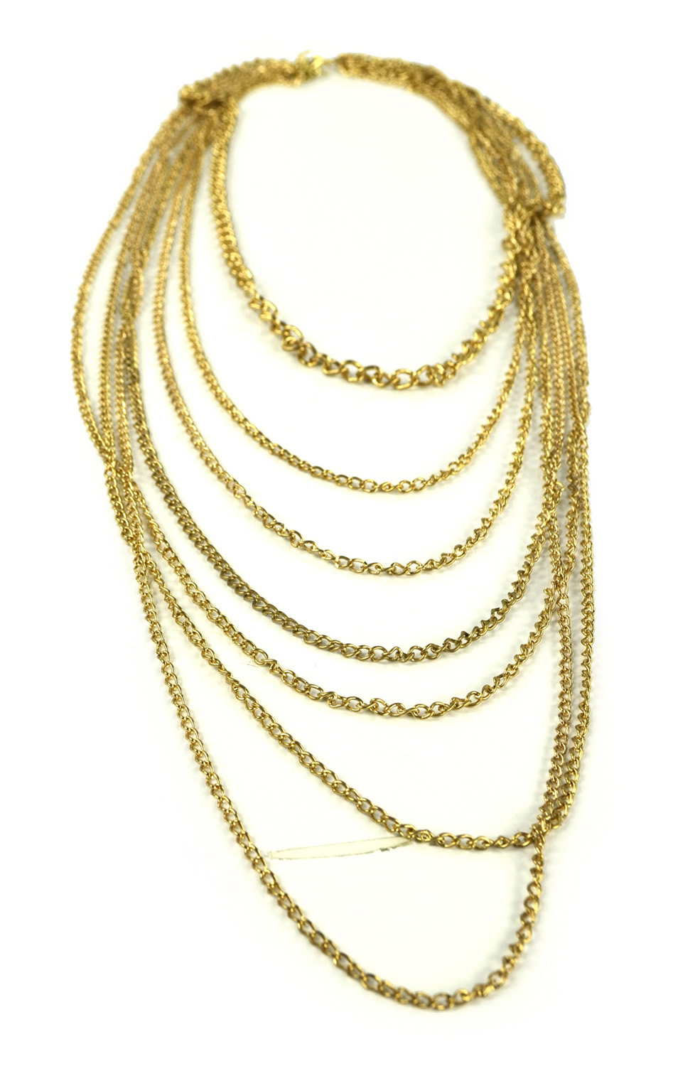 Belle Donne Necklace Long Chain Multi Chain or Choker Stone Flowers Hoops - Gold