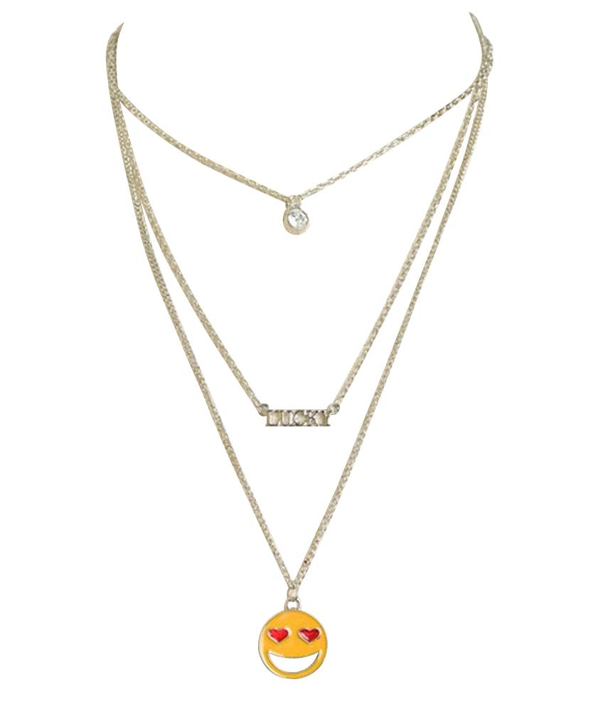 Belle Donne Necklace Long Chain Multi Stone With Cross Desgin - Silver