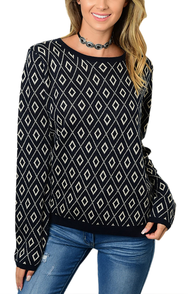 Belle Donne - Long Sleeve Knitted Sweater Cardigan Top - Navy Small