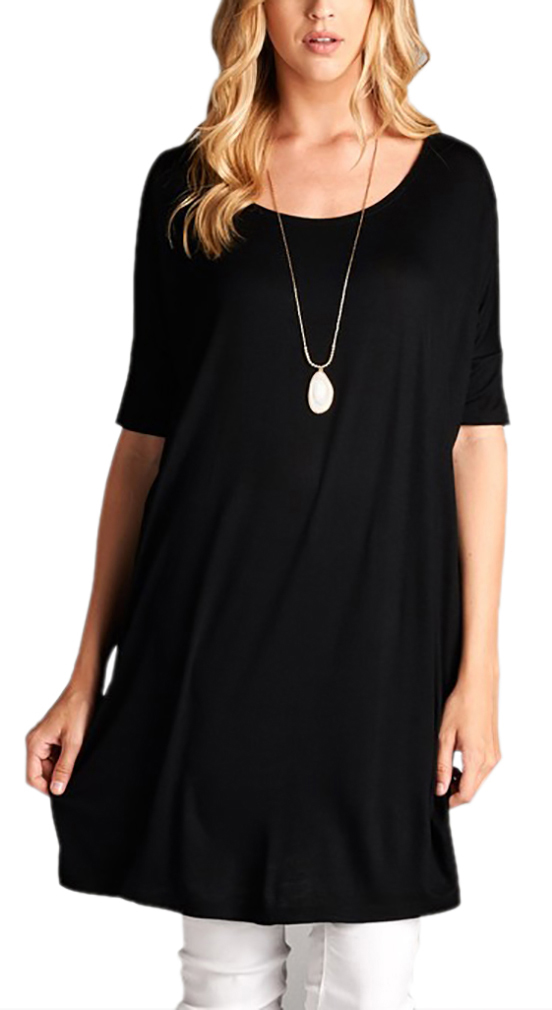 Belle Donne Women Plus Size Tunic Top Loose Jersey Style Casual Blouse - Black-IV Small