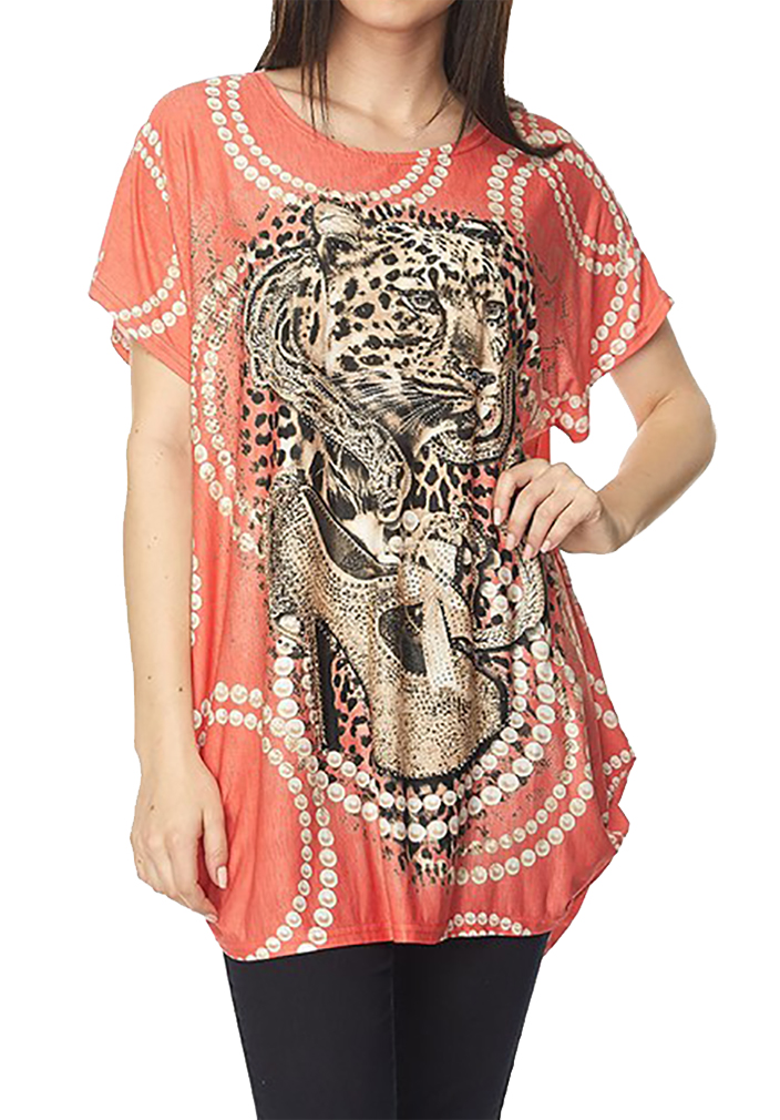 Belle Donne Tunic Tops for Women Long Loose Jersey Shirt Casual Formal Coral One Size