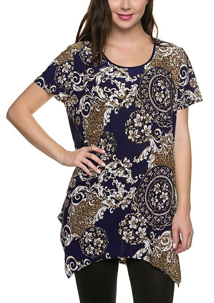 Tunic Tops For Women Long Loose Jersey Shirt Casual Formal Belle Donne - Navy X-Large