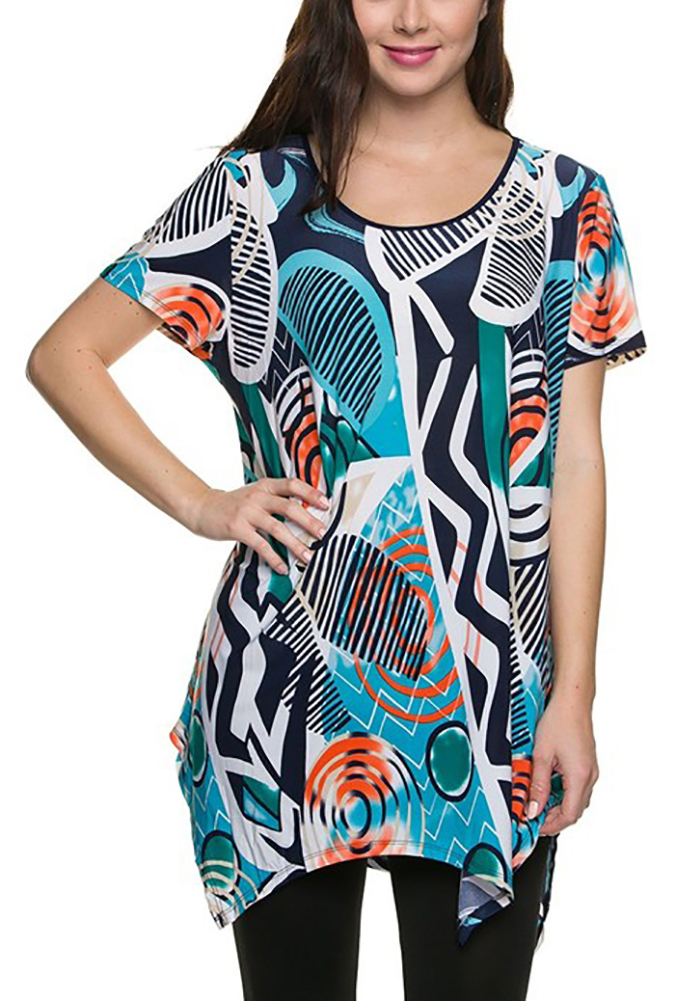 Tunic Tops For Women Long Loose Jersey Shirt Casual Formal Belle Donne - Turquoise 3X-Large