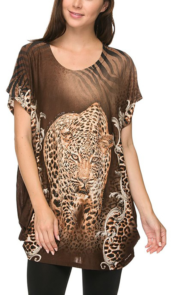 Tunic Tops For Women Long Loose Jersey Shirt Casual Formal Belle Donne - Brown One Size