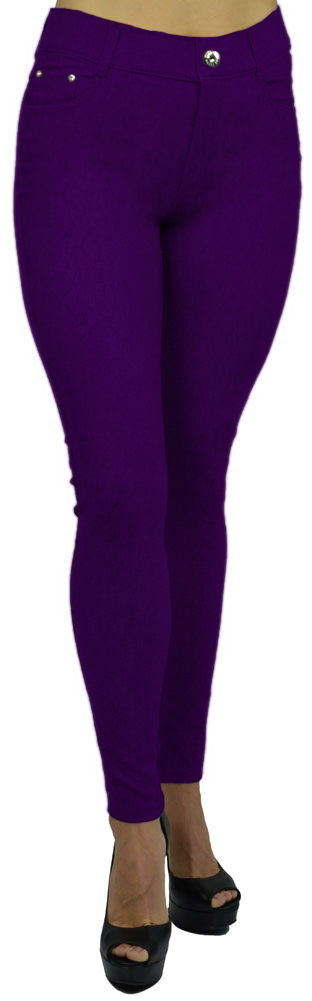 Belle Donne - Women's Jeggings Pull-on Look Alik Denim Jeans - Stretchy Tight - Royal Purple/Small