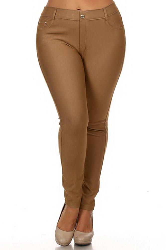 Belle Donne - Women's Jeggings Pull-on Look Alik Denim Jeans - Stretchy Tight - Khaki/X-Large