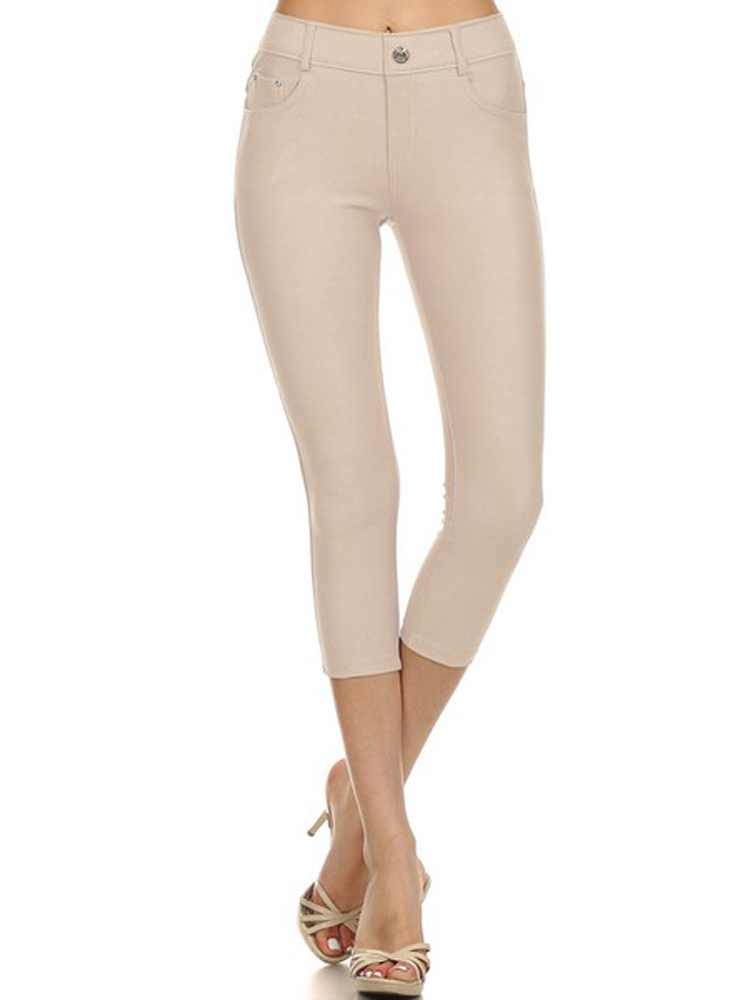 Womens Jeggings with Pockets Solid Color Capri Leggings by Belle Donne - Plus SIze Available - Camel Small