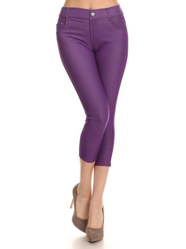 Belle Donne Womens JeggingsJeans With Pockets Solid Color Plus Size Leggings by Purple Small