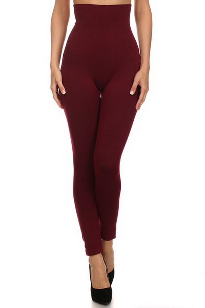 Belle Donne- Women's High Waist Compression non-Fleece / Stylish Leggings - Wine