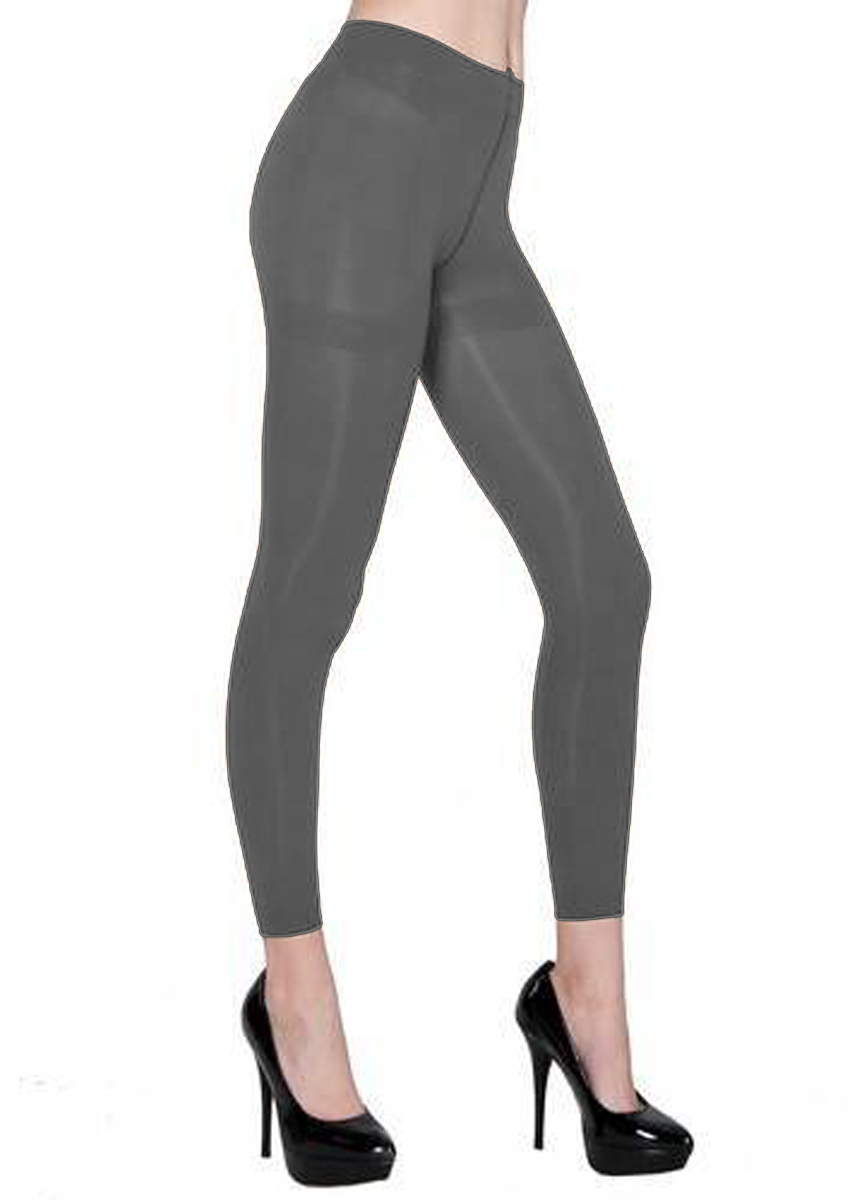 Belle Donne - Women's Footless Leggings Basic Fashion Casuals Solid Color Tights - Gray