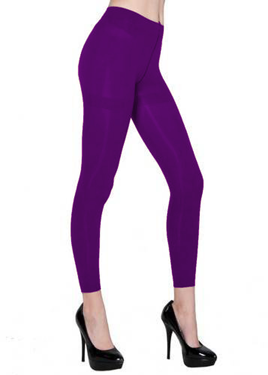 Belle Donne - Women's Footless Leggings Basic Fashion Casuals Solid Color Tights - Purple
