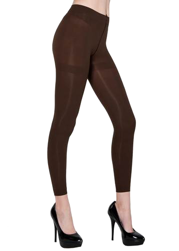 Belle Donne Women's Footless Leggings Basic Fashion Casuals Solid Color Tights - Coffee
