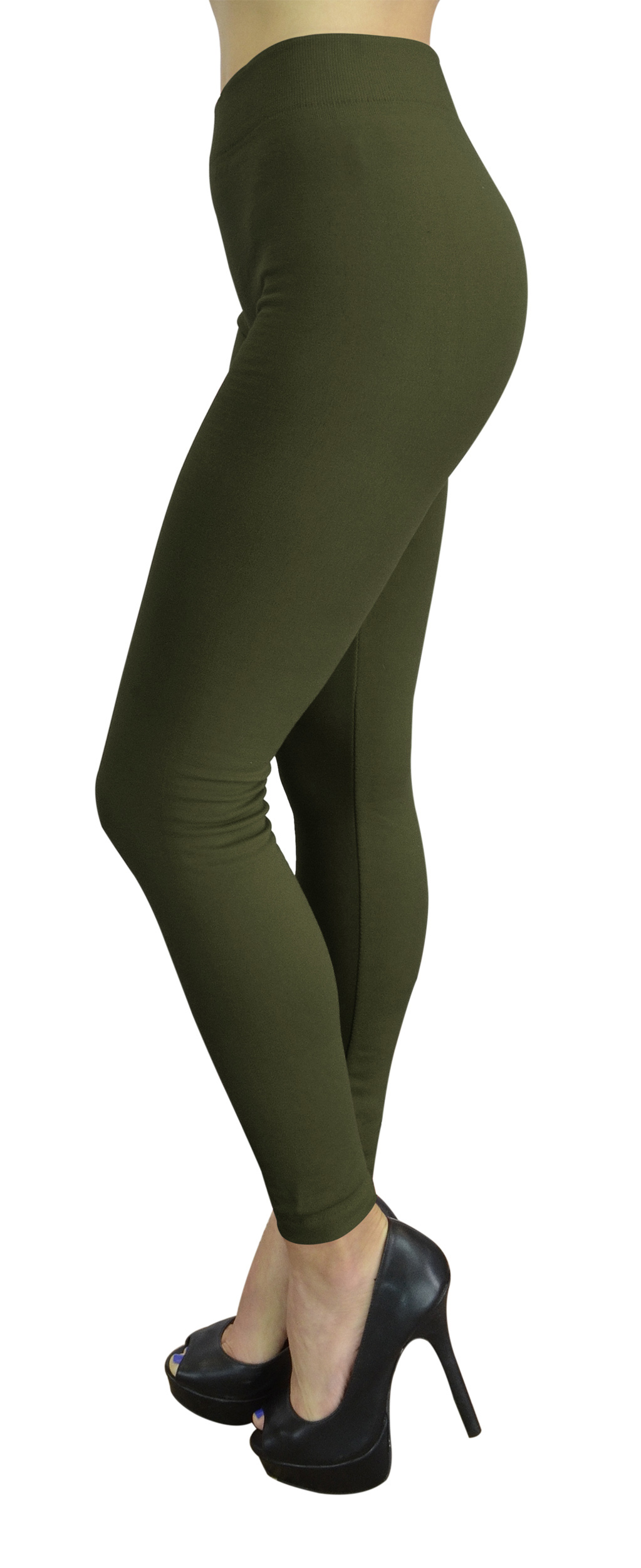 Belle Donne Womens Leggings Workout Yoga Solid Color High Waist by Army Green