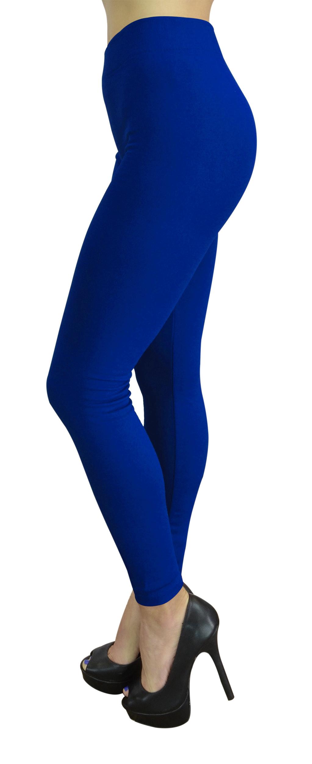 Belle Donne Womens Leggings Workout Yoga Solid Color High Waist Dark Blue