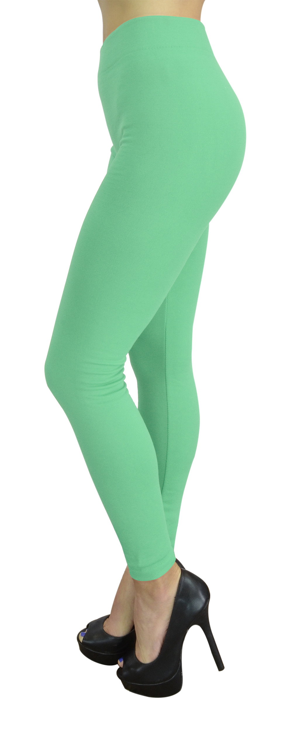 Belle Donne Womens Leggings Workout Yoga Solid Color High Waist Mint