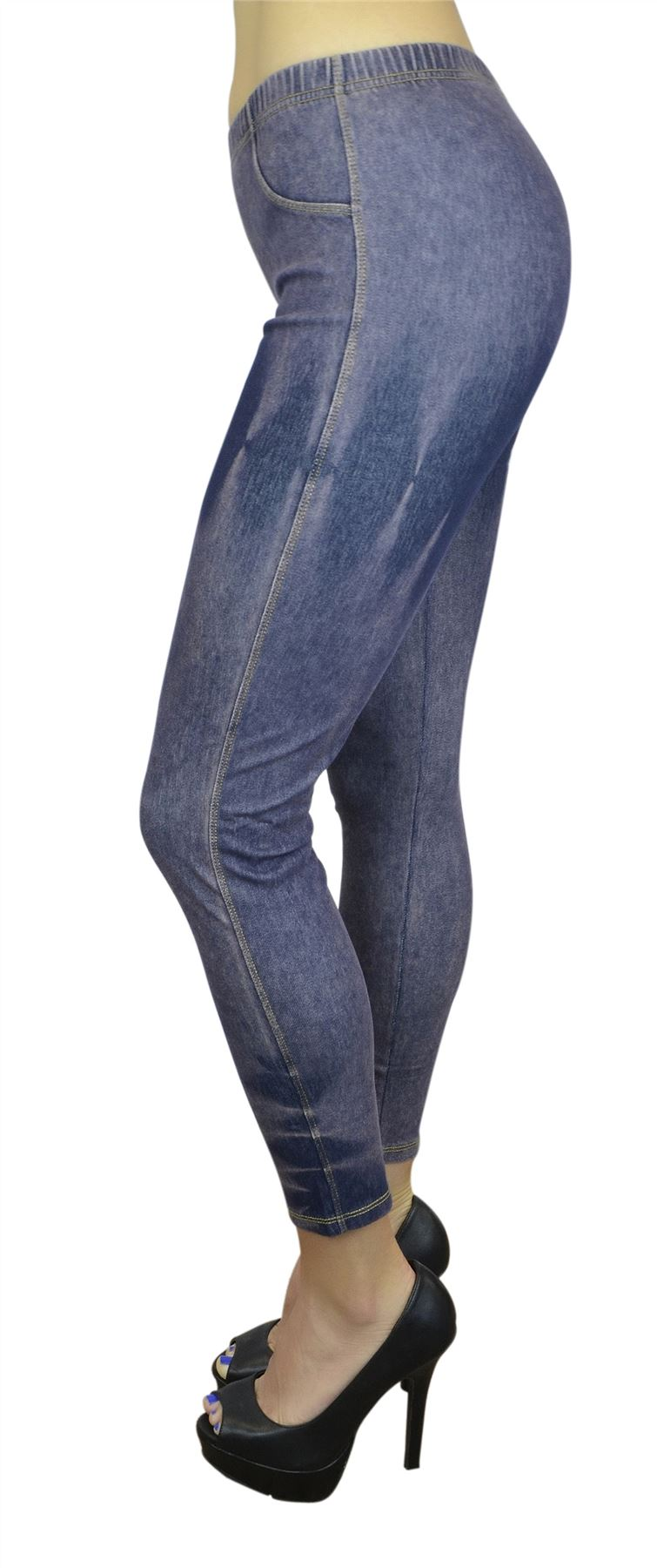 Belle Donne Women's Legging Jeggings Footless - Distressed Blue