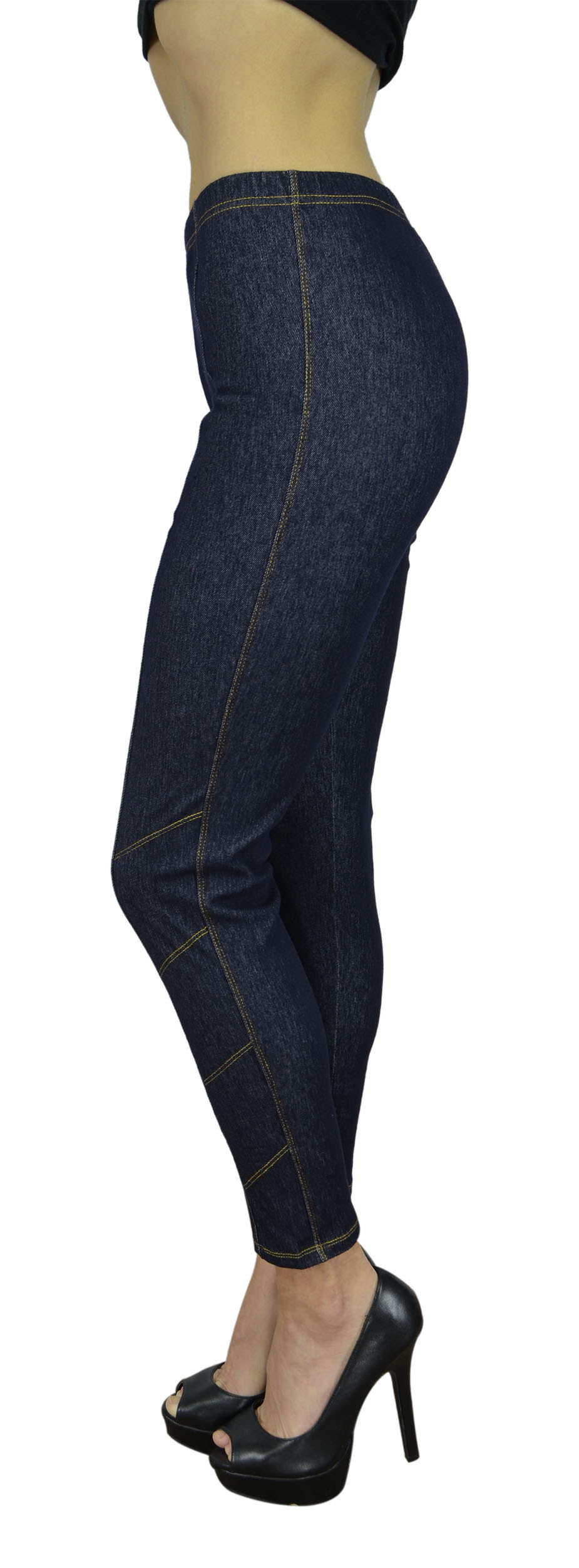 Belle Donne Women's Legging Jeggings Footless - Contrast Stitching-Blue