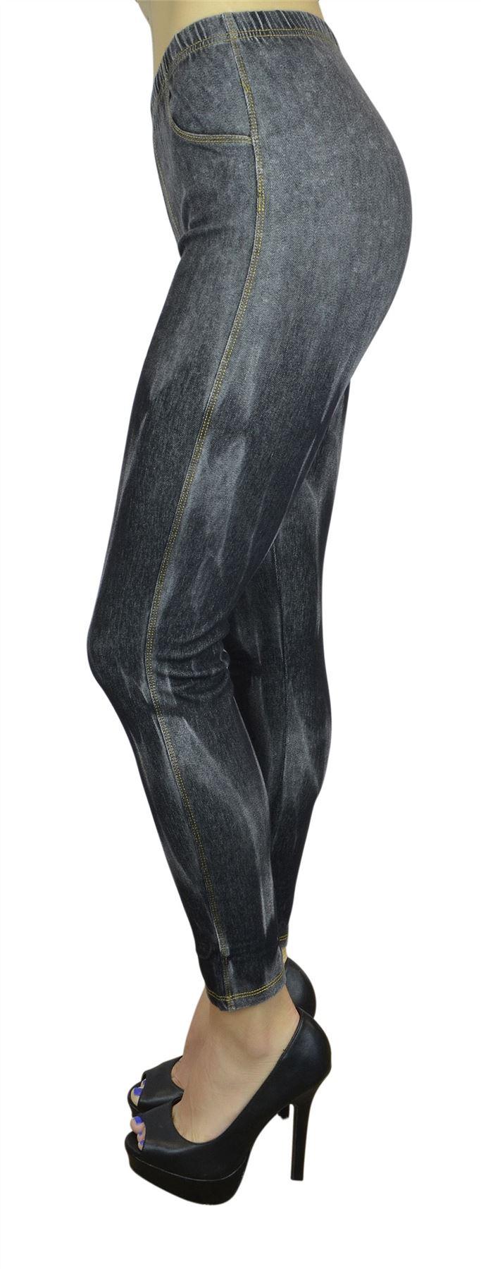 Belle Donne Women's Legging Jeggings Footless - Flecked Distressed Black