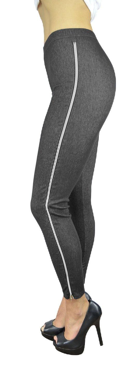 Belle Donne Women's Legging Jeggings Footless - Outer Leg Zipper-Black