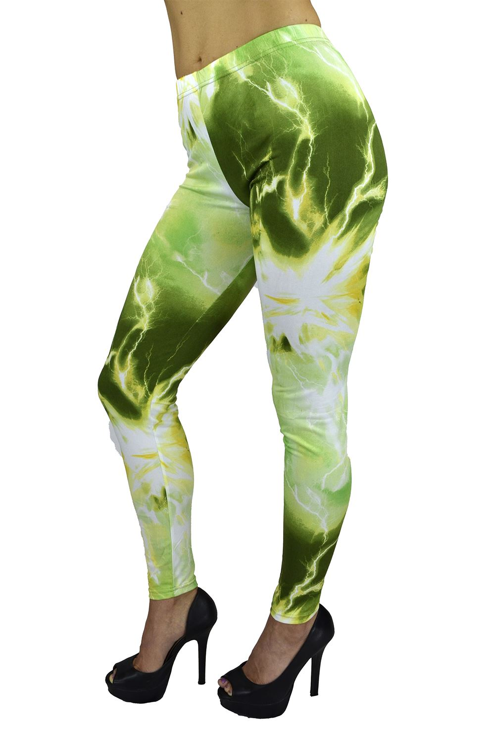 Women's Full Length Leggings - Women's Chemistry Electrifying Energy in Olive Printed Legging