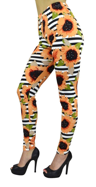 Women's Full Length Leggings - Women's Electric Daisy with Horizontal Striped Leggings