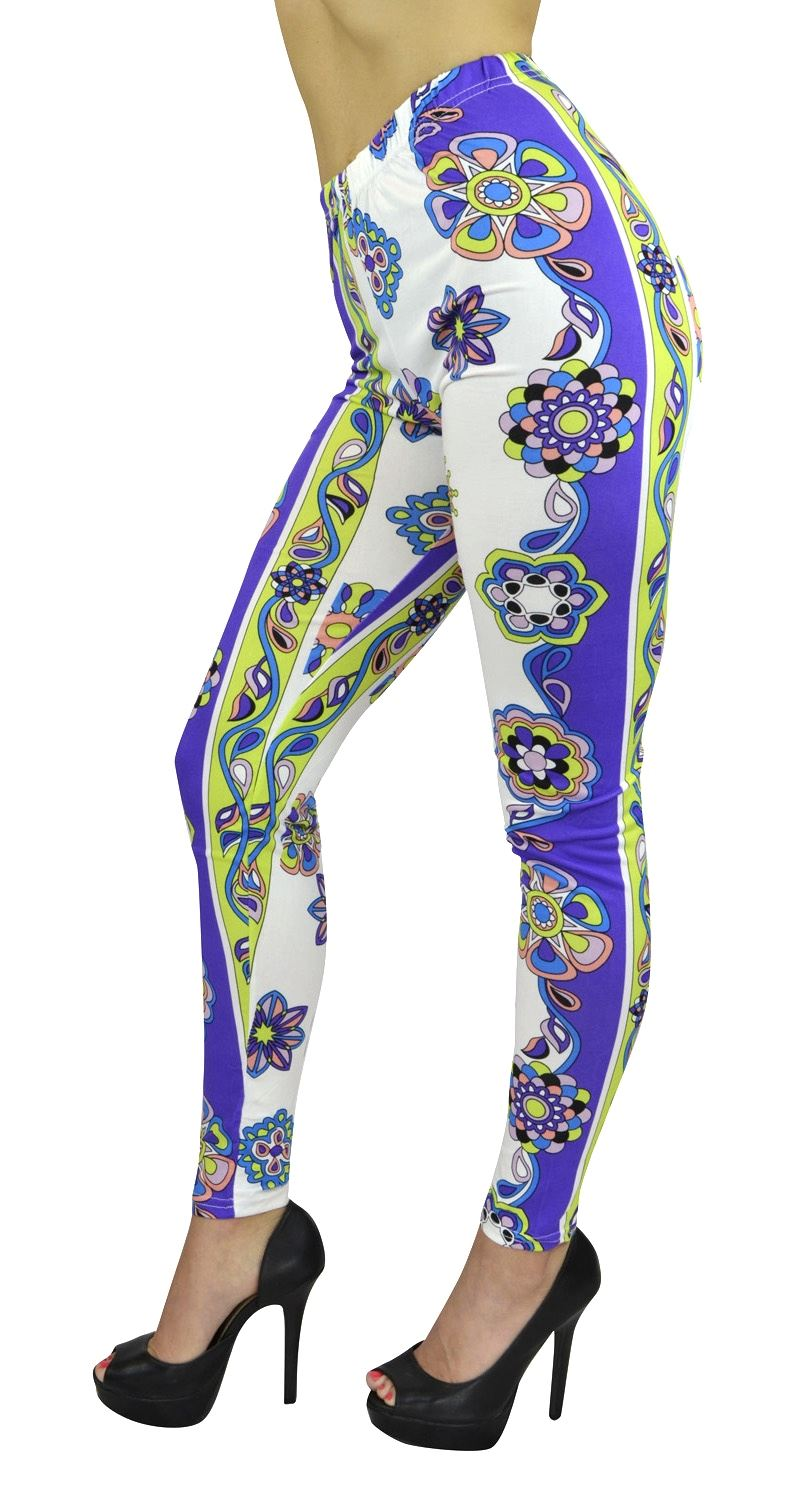 Women's Full Length Leggings - Women's Naomi Geometric Print Fashion Leggings