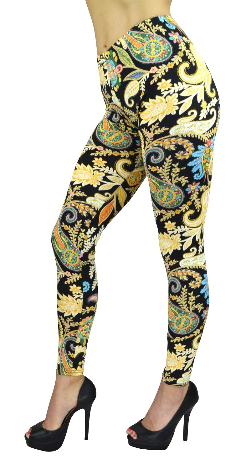 Women's Full Length Leggings - Women's Golden Paisley Printed Fashion Leggings