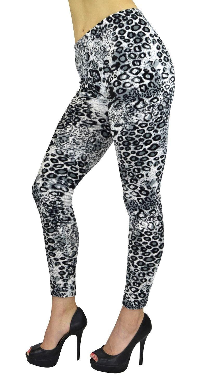 Women's Full Length Leggings - Women's Grey Cheetah Fashion Print Velour Leggings