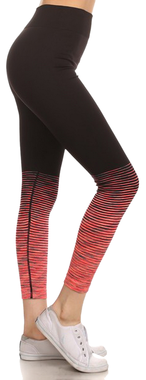 Belle Donne - Performance Legging Seamless Yoga Fitness Pants Banded High Waist - Orange/Small