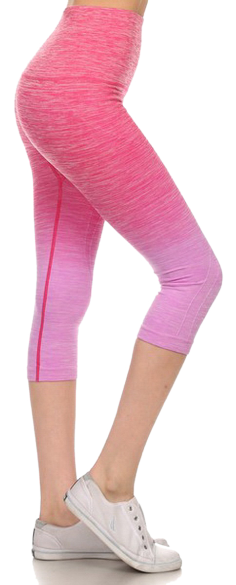 Belle Donne- Women's Legging Capri Legging Ombre Dip Dye Fold Over - Fuchsia/Small