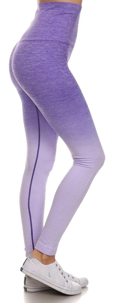 Belle Donne- Women's Legging Full Size Legging Ombre Dip Dye Fold Over - Purple/Small