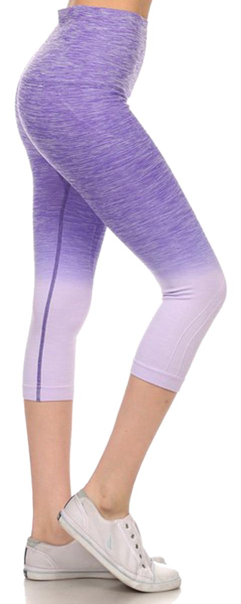 Belle Donne- Women's Legging Capri Legging Ombre Dip Dye Fold Over - Purple/Small
