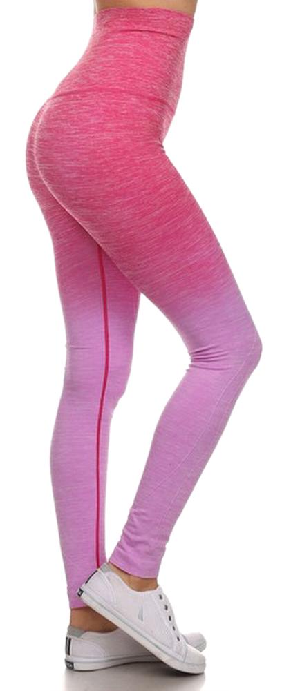 Belle Donne- Women's Legging Full Size Legging Ombre Dip Dye Fold Over - Fuchsia/Medium