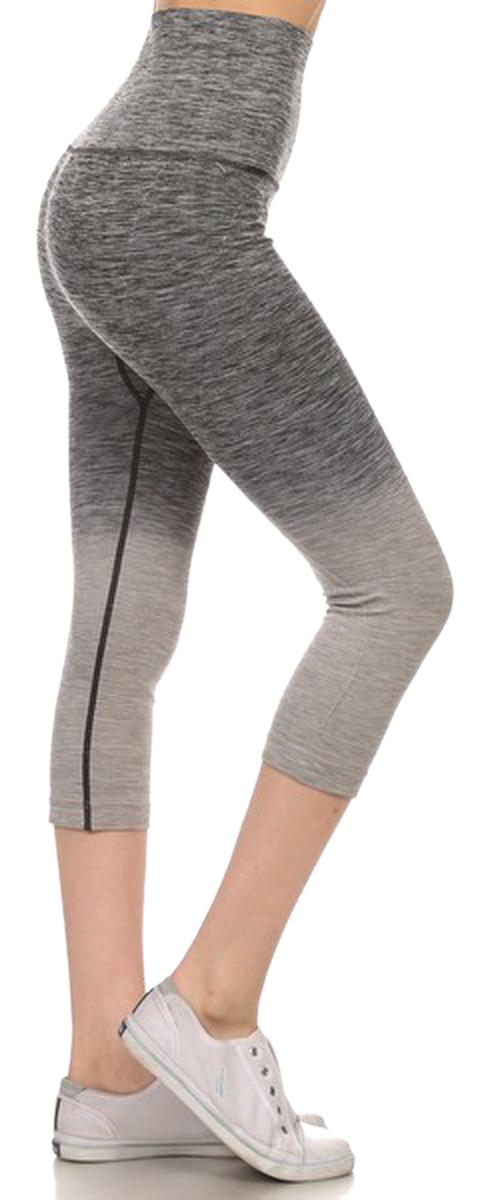 Belle Donne- Women's Legging Capri Legging Ombre Dip Dye Fold Over - Charcoal/Small