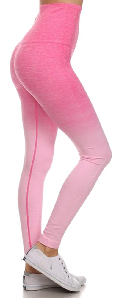 Belle Donne- Women's Legging Full Size Legging Ombre Dip Dye Fold Over - Light Pink/Small