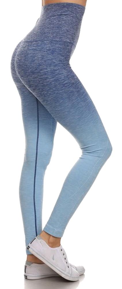 Belle Donne- Women's Legging Full Size Legging Ombre Dip Dye Fold Over - Denim/Large