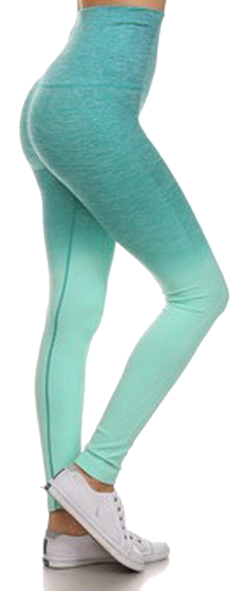 Belle Donne- Women's Legging Full Size Legging Ombre Dip Dye Fold Over - Aqua/Medium