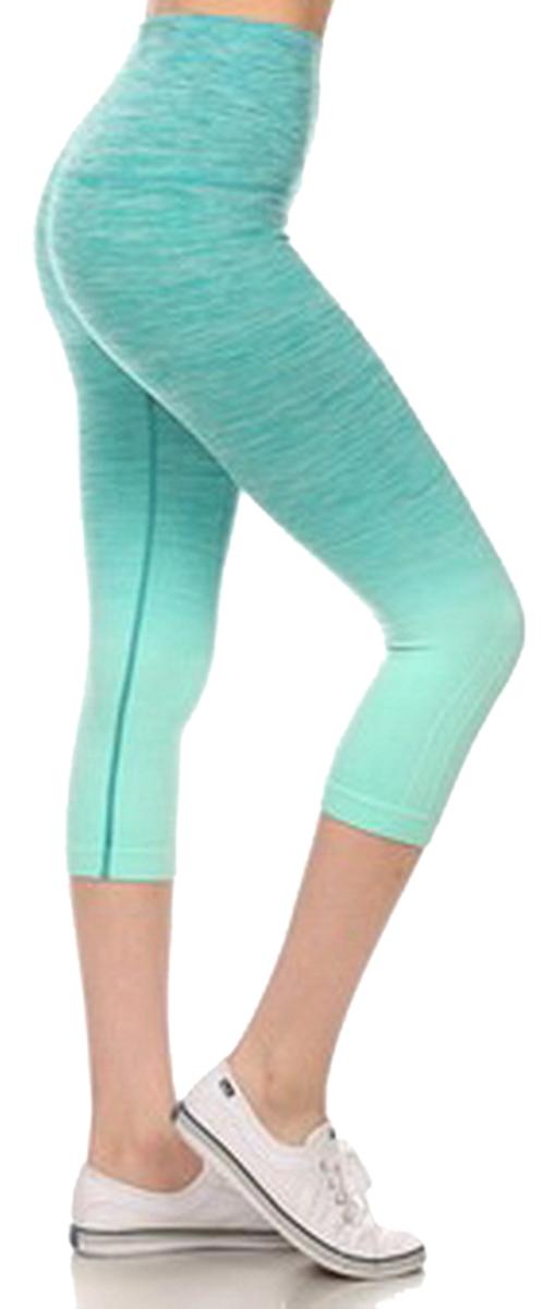 Belle Donne- Women's Legging Capri Legging Ombre Dip Dye Fold Over - Aqua/Small