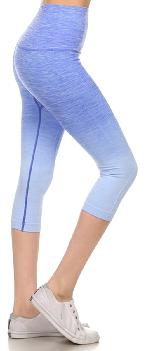 Belle Donne- Women's Legging Capri Legging Ombre Dip Dye Fold Over - RoyalBlue/Small