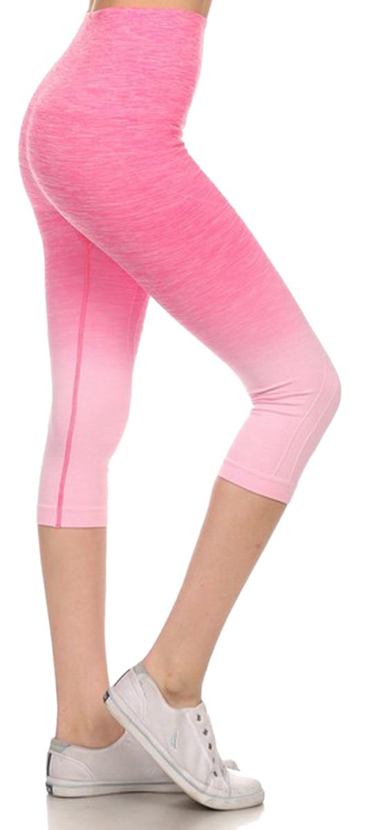 Belle Donne- Women's Legging Capri Legging Ombre Dip Dye Fold Over - Light Pink/Small