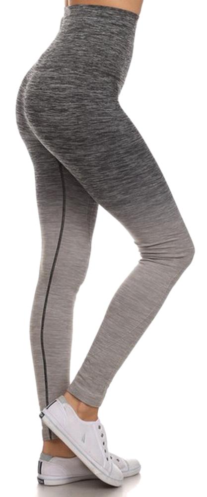 Belle Donne Women's Legging Full Size Legging Ombre Dip Dye Fold Over - Gray/Small