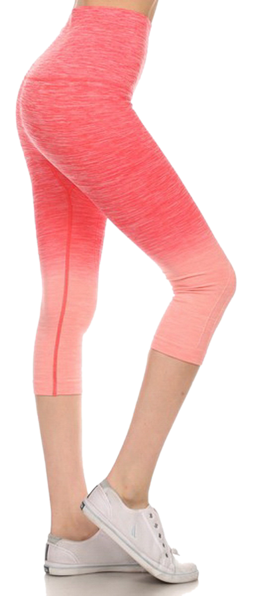 Belle Donne- Women's Legging Capri Legging Ombre Dip Dye Fold Over - Coral/Small