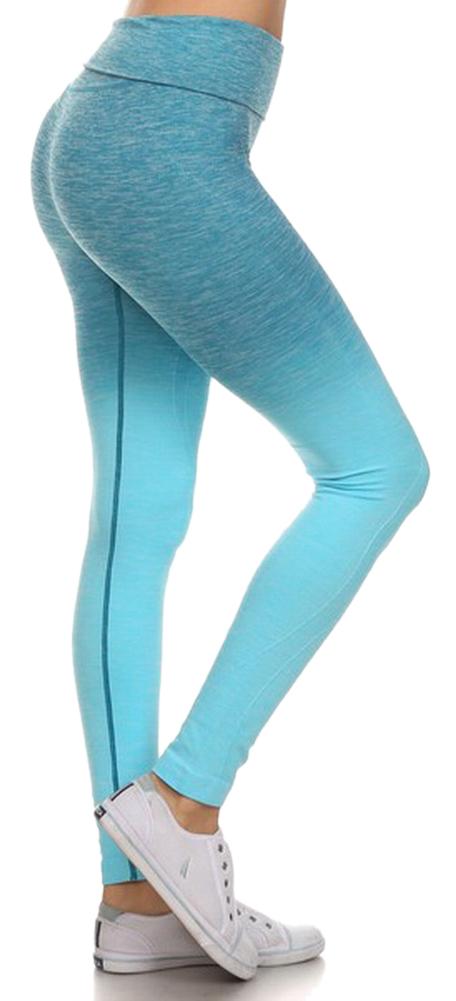 Belle Donne- Women's Legging Full Size Legging Ombre Dip Dye Fold Over - Periwinkle/Small