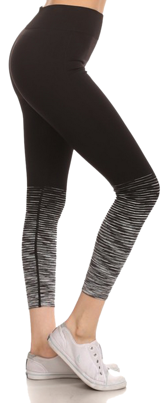 Belle Donne - Performance Legging Seamless Yoga Fitness Pants Banded High Waist - Charcoal/Medium