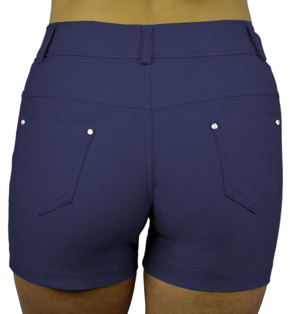 Belle Donne - Women's Short Moleton Style Solid Color Ultra Stretch Fitted Short - Denim Blue/Small