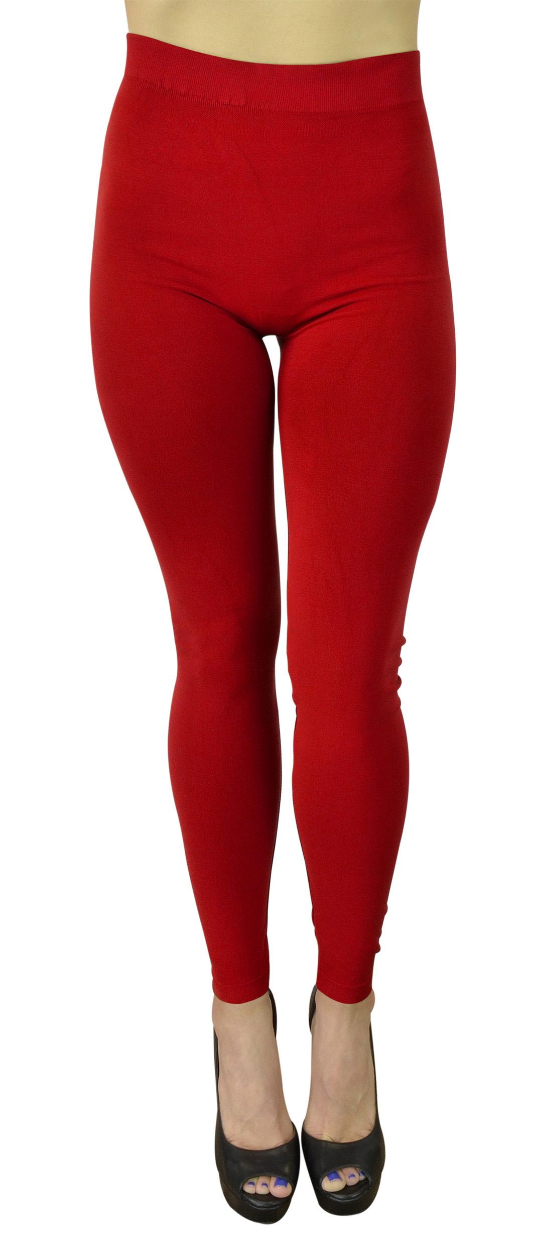 Belle Donne Women's Solid Color Warm Winter Kermo Fleece Legging - Red