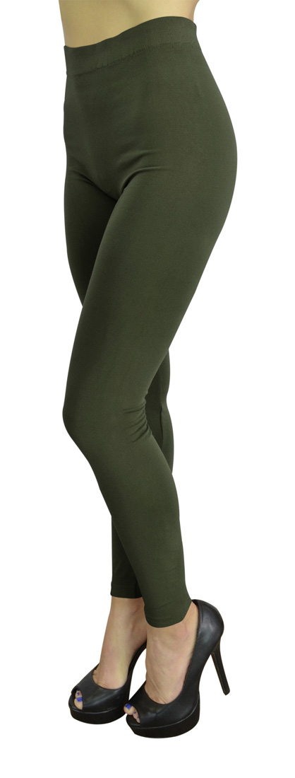 High Waist Leggings for Women Fashion, Gym, Yoga or Casual - 10 Trendy Colors - Regular Size - Olive